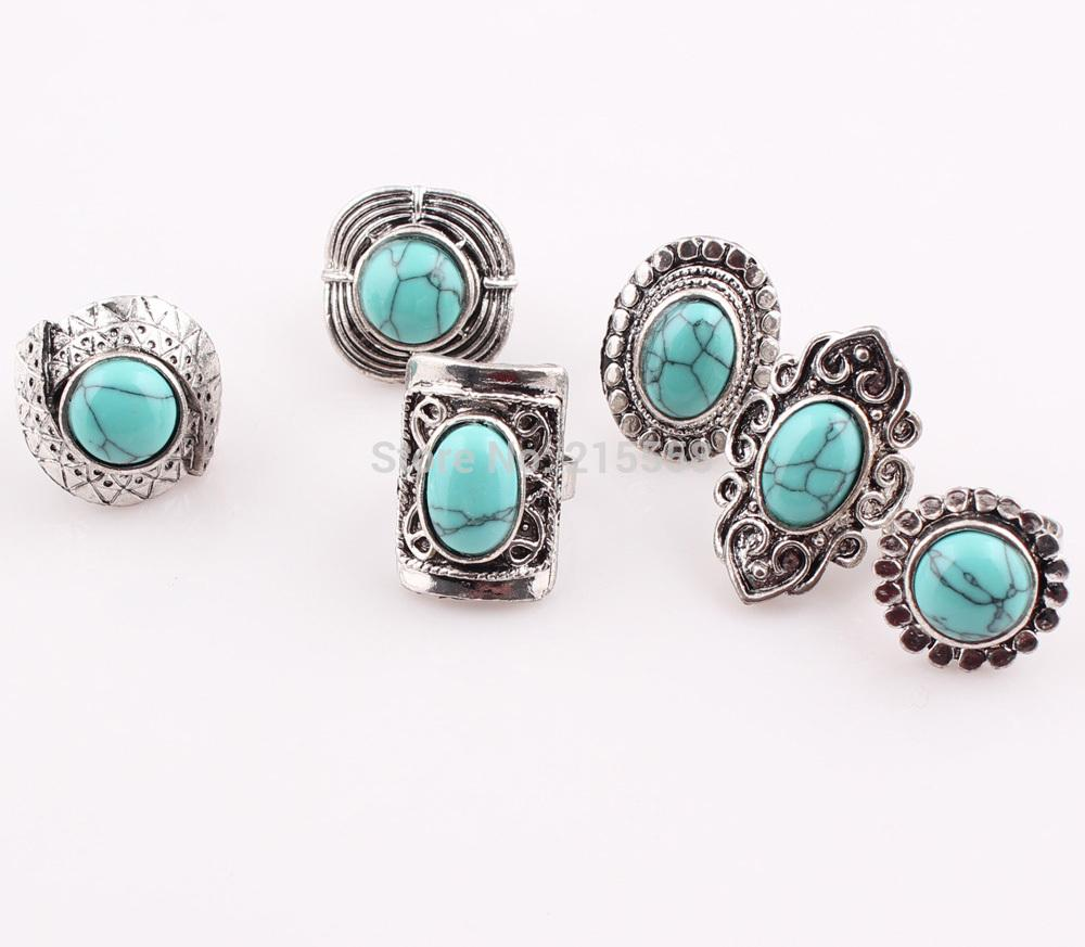 of western in pack blue product asos rings stone turquoise normal lyst jewelry