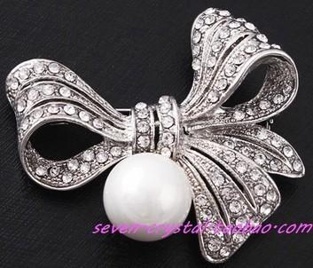 cristal nudo perla hombres; s broche de la señora (4.6 * 5.5cm) (myyhmz)