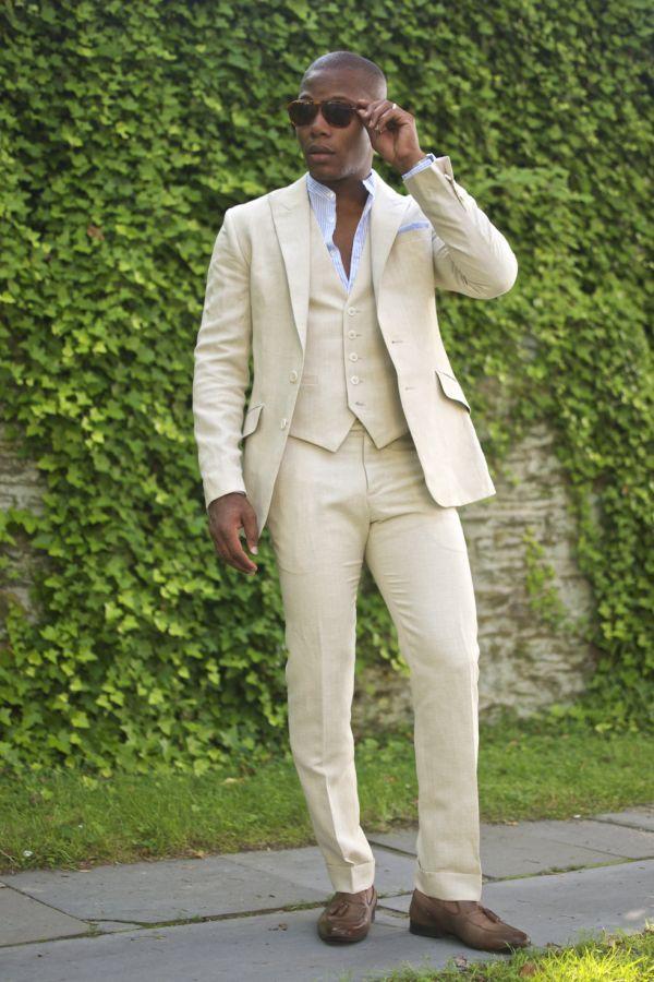 Champagne Linen men Suits peaked lapel mens wedding suits Tuxedos ...