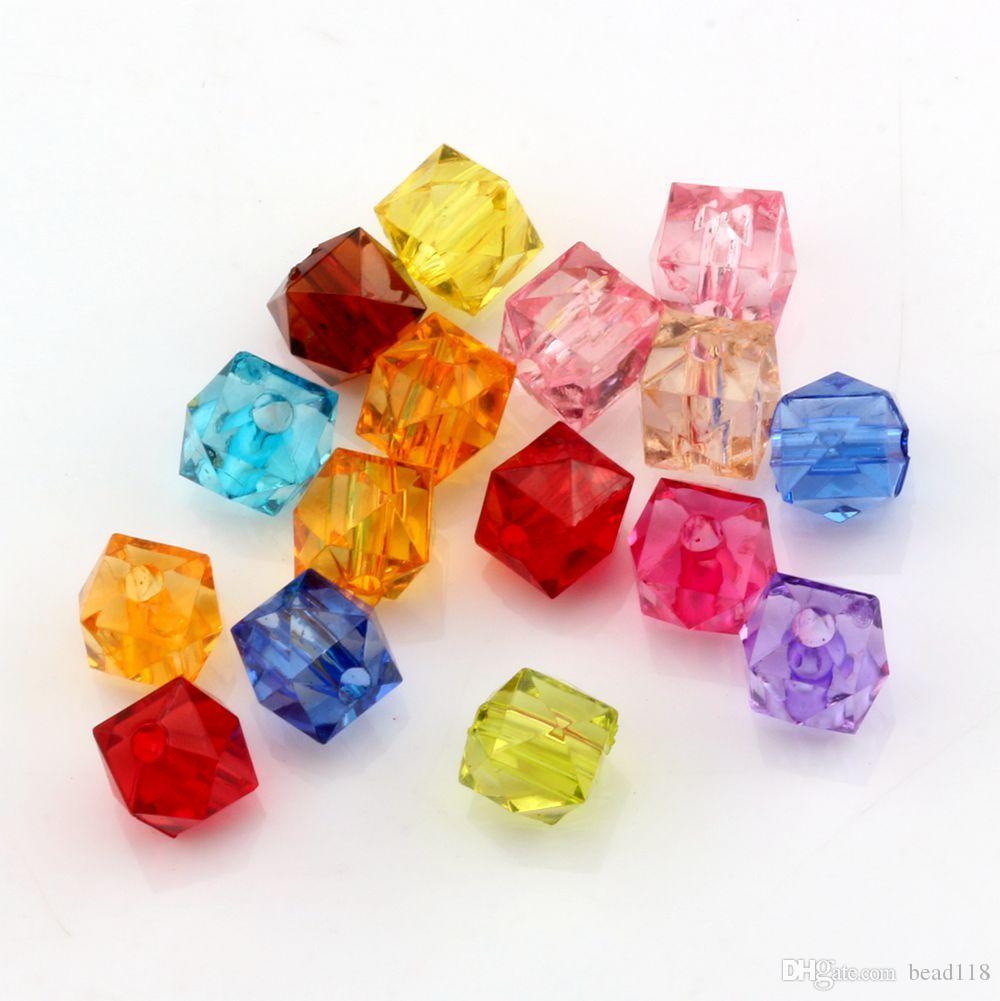 Quente! 300 Pcs Mix Color Acrílico Transparente Facetado Quadrado Spacer beads 7 MM DIY Jóias