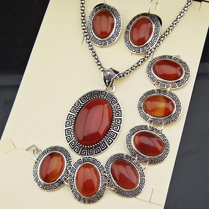 Chegada Nova 3pcs prata banhado antiga Vintage Oval Natural Vermelho ágata pedra colar brincos pulseira Mulheres Jóias Set A791