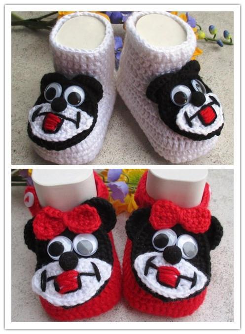 Zapatos de bebé de punto grueso, rojo, blanco, negro, botines de bebé ganchillo, calcetines de bebé, ropa de bebé tejida, regalo de bebé, embarazo, mamá