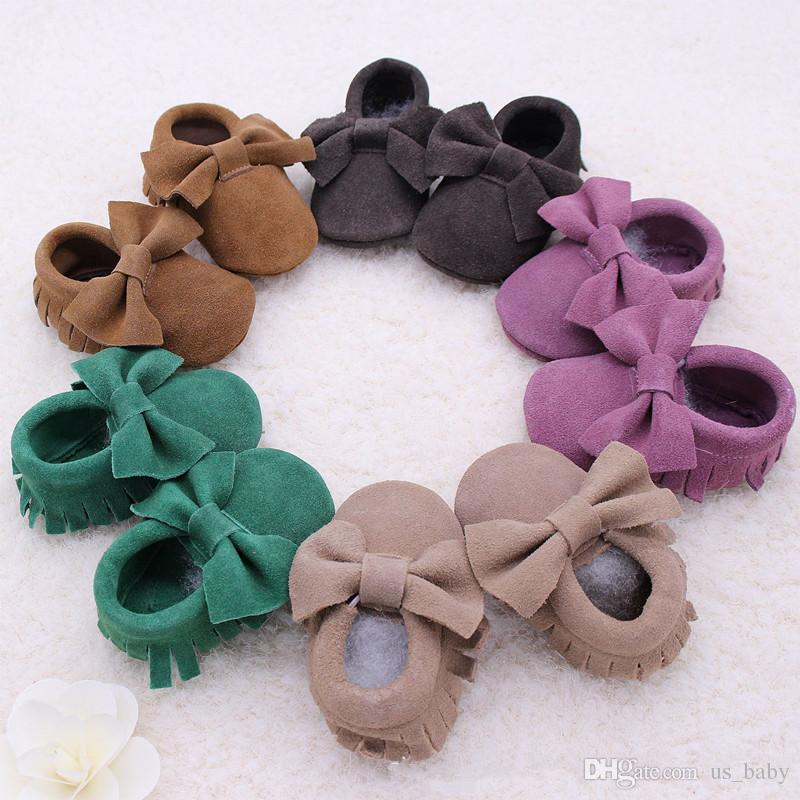 10Pair Retail New Baby suede Genuine Cow bow moccs wholesale infant moccasins soft leather baby booties toddler walking shoes 0-2T