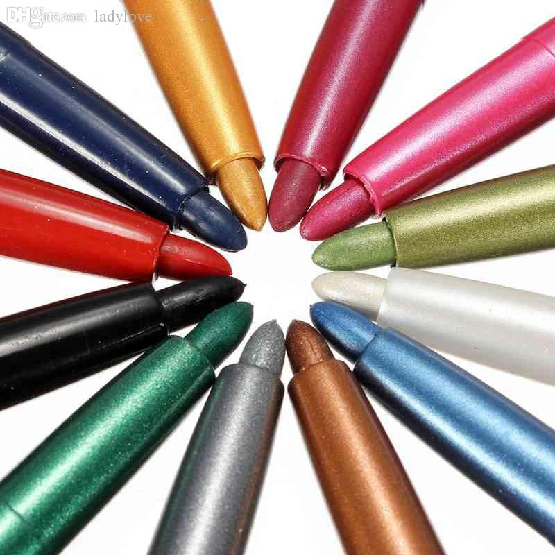 Wholesale-Pro Fashion 12 Colors Eyebrow Glitter Shadow EyeLiner Pencil Pen Cosmetic Makeup Set Kit Tools