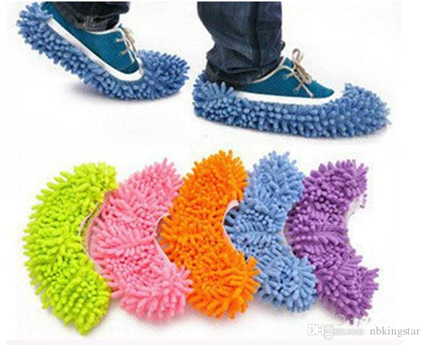50 Pairs(100pcs )Dust Chenille Microfiber Mop Slipper House Cleaner Lazy Floor Cleaning Foot Shoe Cover Free shipping by DHL