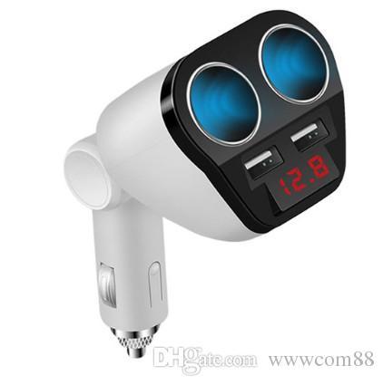 Cargador de coche USB encendedor de cigarrillos Dual Prot Adaptador Enchufe 5V 3.4A 2in1 LED Carga rápida para iPhone Samsung Cargador de coche portátil