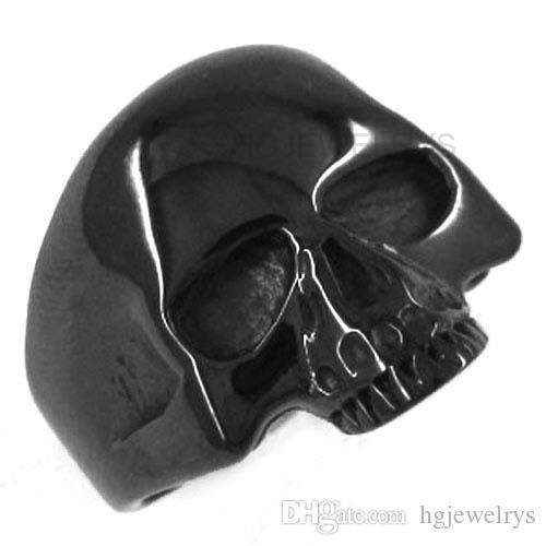 ¡Envío gratis! Anillo plateado negro del cráneo del motorista del anillo de la joyería del acero inoxidable Anillo motorista del biker del motorista SWR0036BH