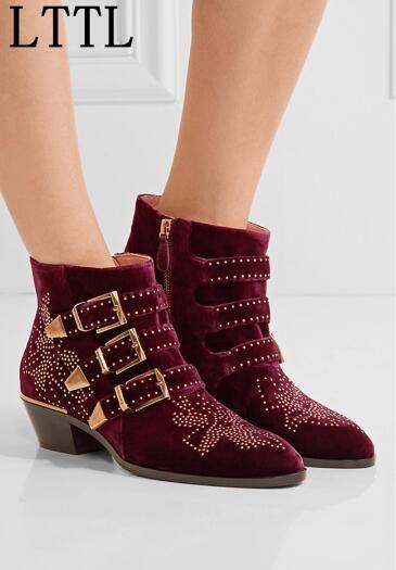 Mode Frau Susanna Schnallen Low Von Vintage Zip Promi Stiefeletten Großhandel Studded Frauen Reiten Booties Diamondshoes Nieten Velvet Schuhe Heel wTlOXPZuki