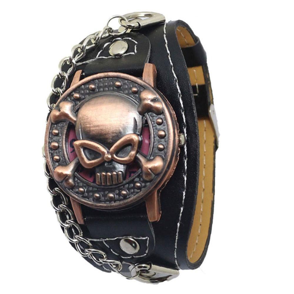 Прохладный Медь Череп Кожаный Часы Мужчины Мода Кварцевые Наручные Часы