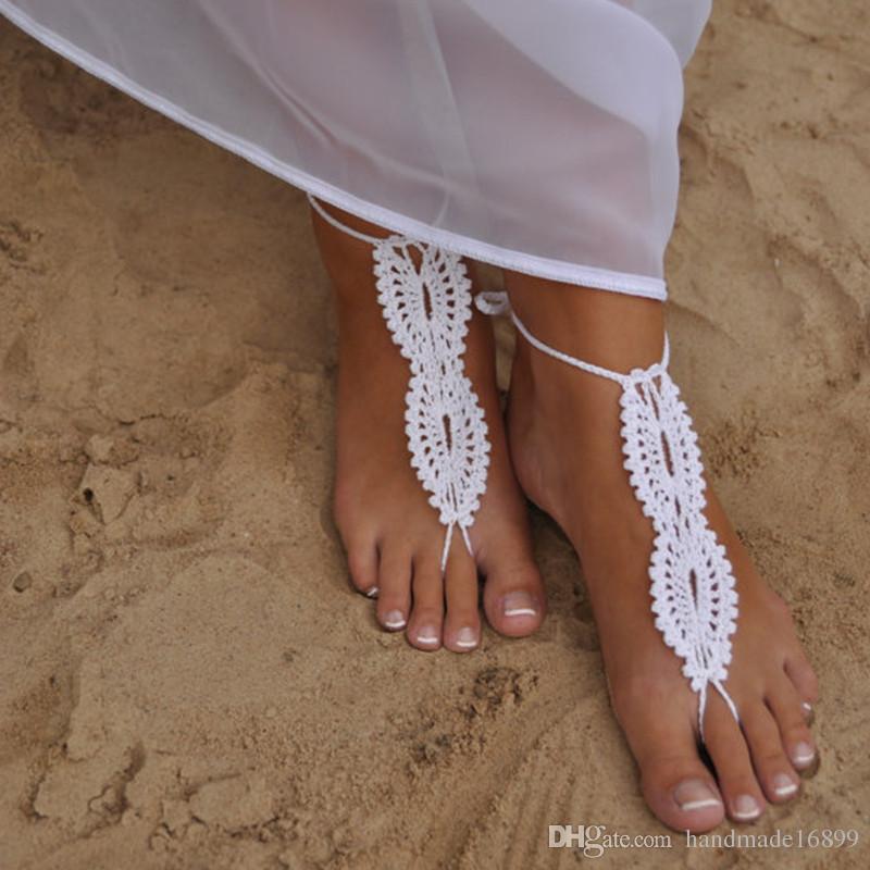 1 Paar oder 2 Stück Strand Hochzeit barfuss Sandalen, weiße häkeln Sandalen, nackte Schuhe, Braut, viktorianische Spitze, sexy Schuhe