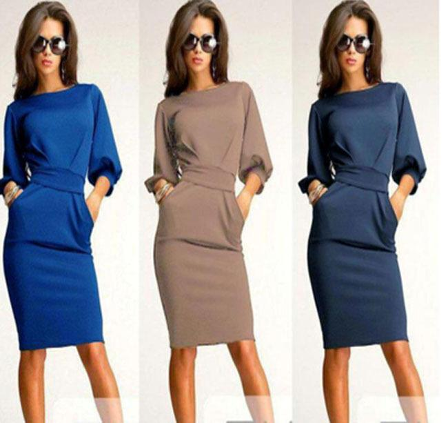 Casual Dresses For Big Girls Dress 2015 Spring Summer Lady Solid Slim Fit Half Sleeved Puff Sleeve Dressy Women Clothing Khaki Blue Navy