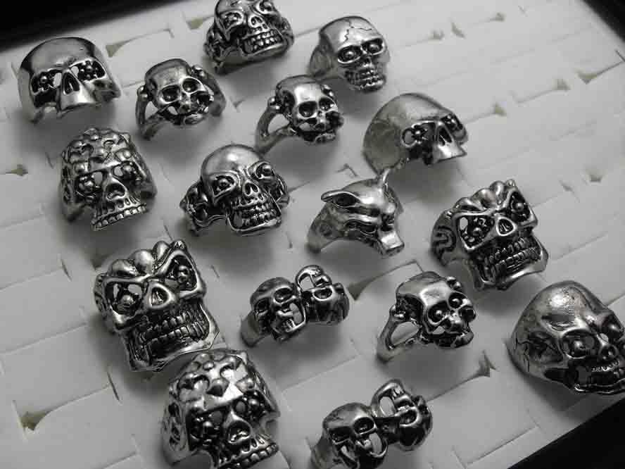 30pcs Skull Squelette Gothic Alloy Anneaux En Gros Punk style anneaux pour hommes