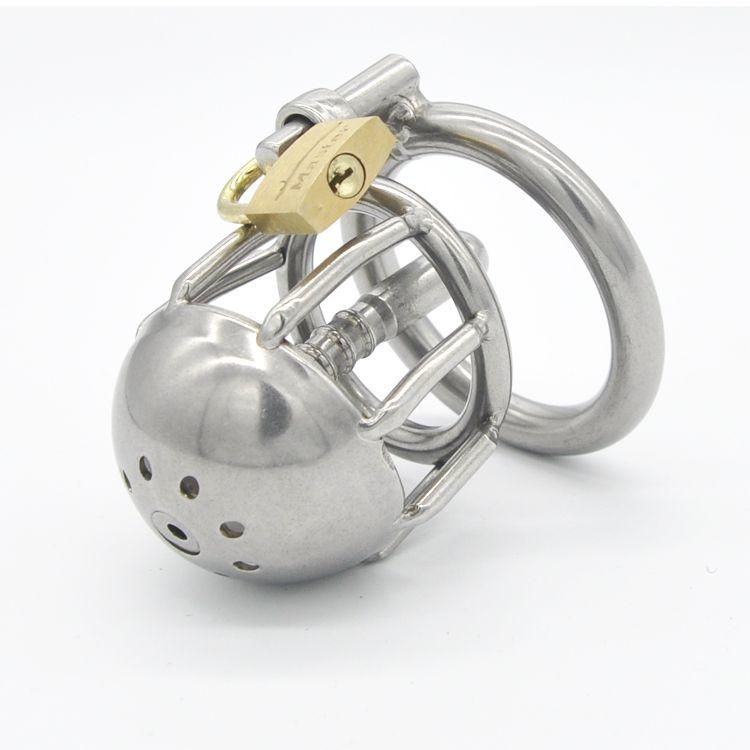 Venda por atacado - Mais recente design de aço inoxidável masculino dispositivos de castidade mais curto tubo de uretral gaiola vindo A088