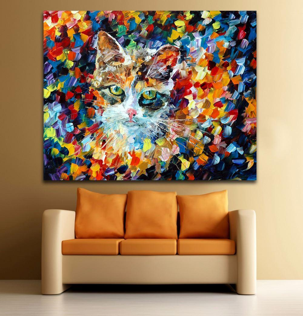 Lovely Dog Cat Animals Modern Palette Knife Oil Painting Printed On Canvas Mural Art Picture for Home Living Room Wall Decoration