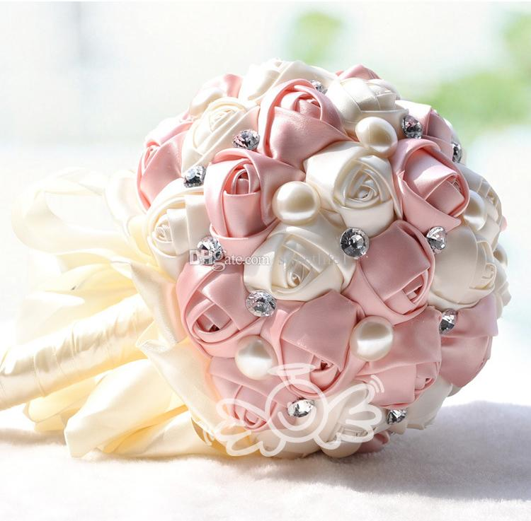 Różowe Sztuczne Bukiety Ślubne Kryształ Pearl Jedwab Róża Narośnięta Ślubne Kwiaty Gorąca Sprzedaż Tanie Dekoracje Ślubne Bukiety Druhna