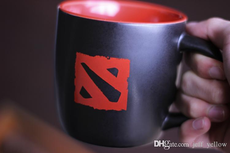 Free shipping DOTA2 TI6 game Physical surroundings Red and black logo cup Mug Dota dream of the power of the cup figure
