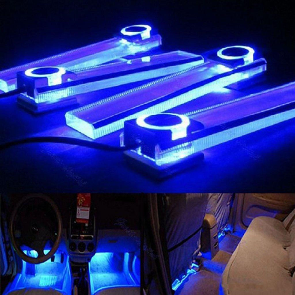 Blue 12v 4 In 1 Car Charge LED Interior Decoration Floor Decorative Light  Lamp ...