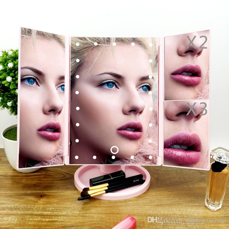 2018 Newest Make Up LED Mirror Cosmetic Folding Mirror with Stand Base 180 Degree Rotation Touch Screen Makeup Mirror DHL Free shipping