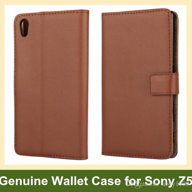Nuovo Arrrive genuino del cuoio genuino del raccoglitore del telefono della copertura di vibrazione per Sony Xperia Z5 E6603 E6653 trasporto di goccia