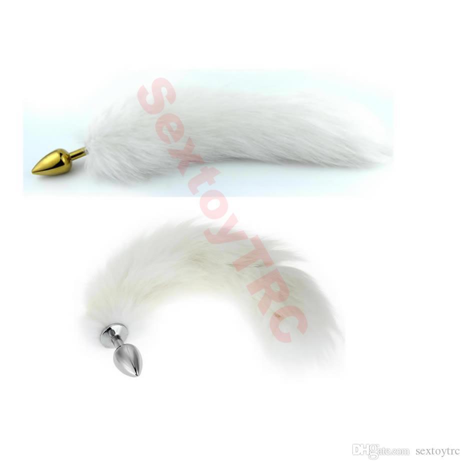 흰색 꼬리 실버 엉덩이 플러그와 골드 아날 플러그 흰색 모피 꼬리 섹시 의상 액세서리 Anus 비즈 침입자 B0101016