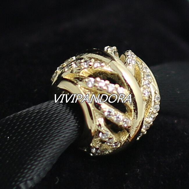 0b0349cb423a16 100% 14K Real Gold Shimmering Feather Charm Bead with Clear Cz Fits  European Pandora Jewelry Bracelets & Necklaces