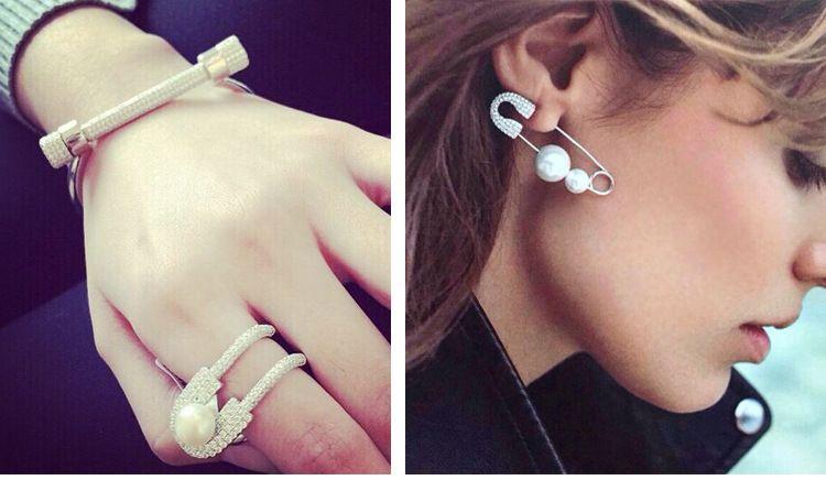 2016 женщины личность Pin жемчужные серьги с бриллиантом Pin браслет Pin кольца наборы партия мода последние модные горячие продажа