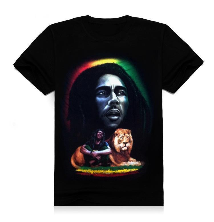 FG1509 new 2015 summer 3d men t shirt short sleeve man 3d reggae Rock Bob Marley & Lion Printing design cotton T shirt T83
