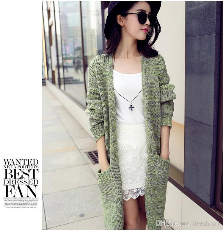 2017 Maxi Long Knitted Cardigan Female Loose Casual Cotton Sweater ...