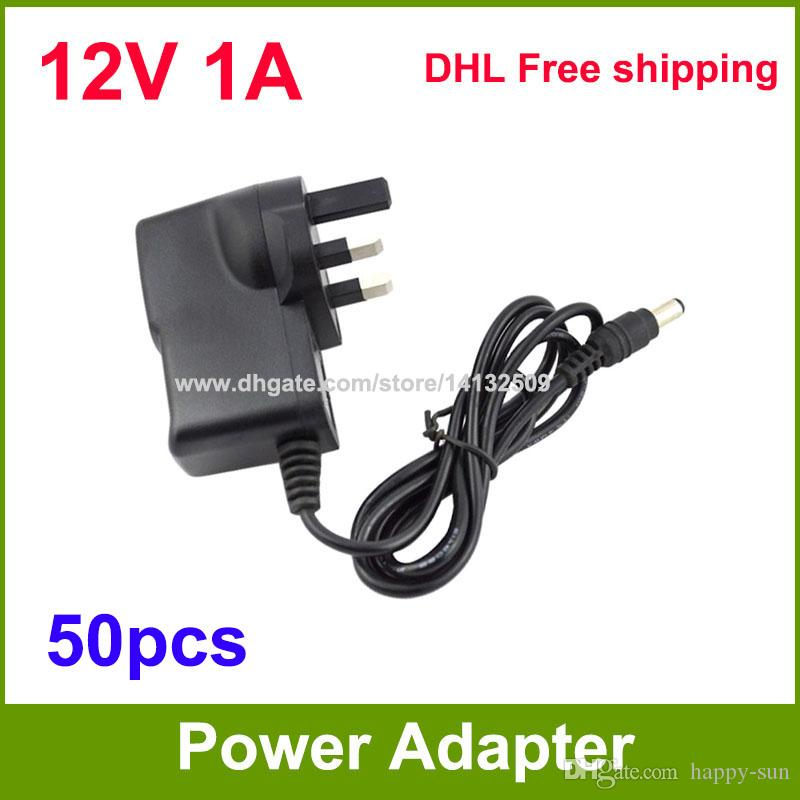 High Quality 50pcs DC 12V 1A 1000mA Power Adapter Supply 12V adaptor DHL free shipping