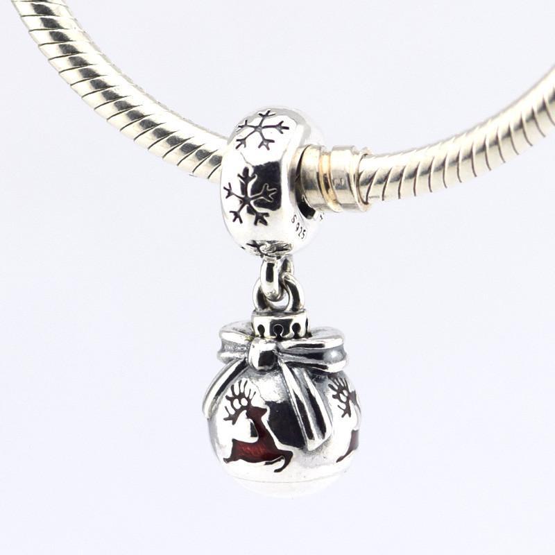 Authentiek 925 Kerst Ornament opknoping met rode kralen Past Pandora klassieke doorzichtige enamel armbanden gratis verzending