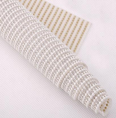 Factory Promotion! rhinestone and Pearl Beaded Trim Iron On Diamond Mesh Bridal Strass Crystal Applique Roll For Garment/shoes