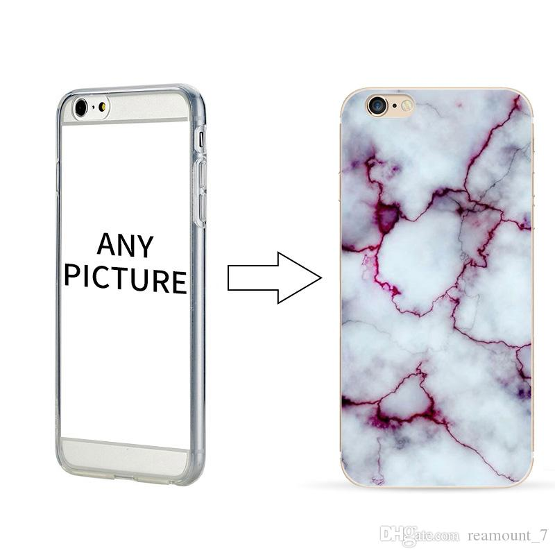 100 pcs Wholesale Marble Pattern Stone Soft Case for iPhone X Logo Adding Company Name Printing Back Cover for iPhone 8 Plus 7G