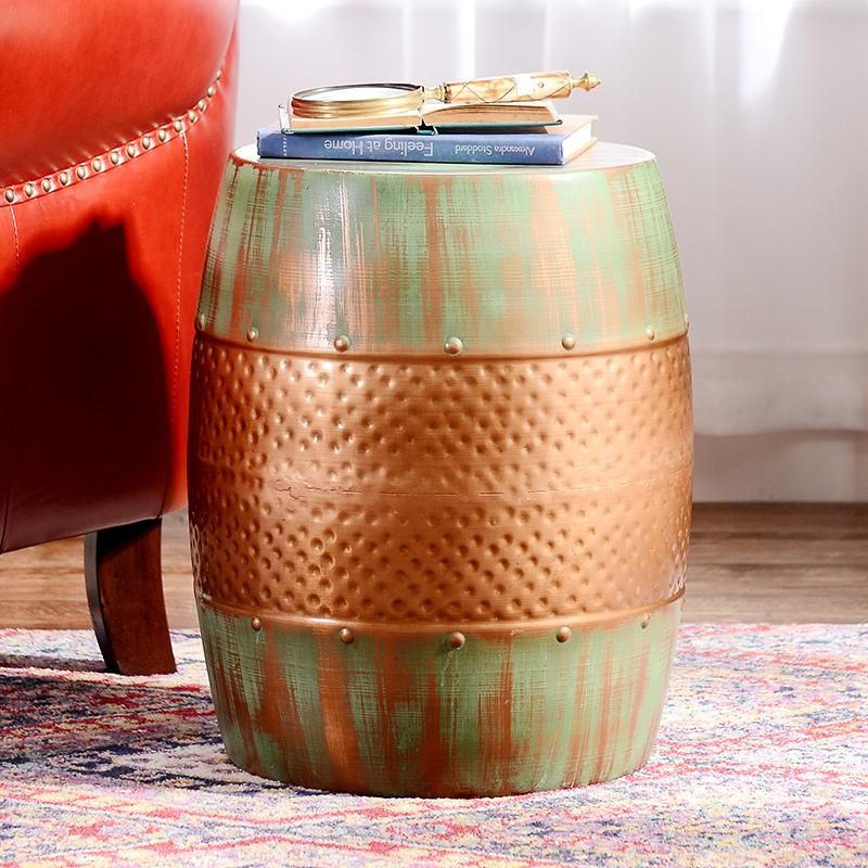 India ranghi resa strana casa di lusso Decorazione Retrò a fare il vecchio ferro battuto in bronzo sgabello tamburo n