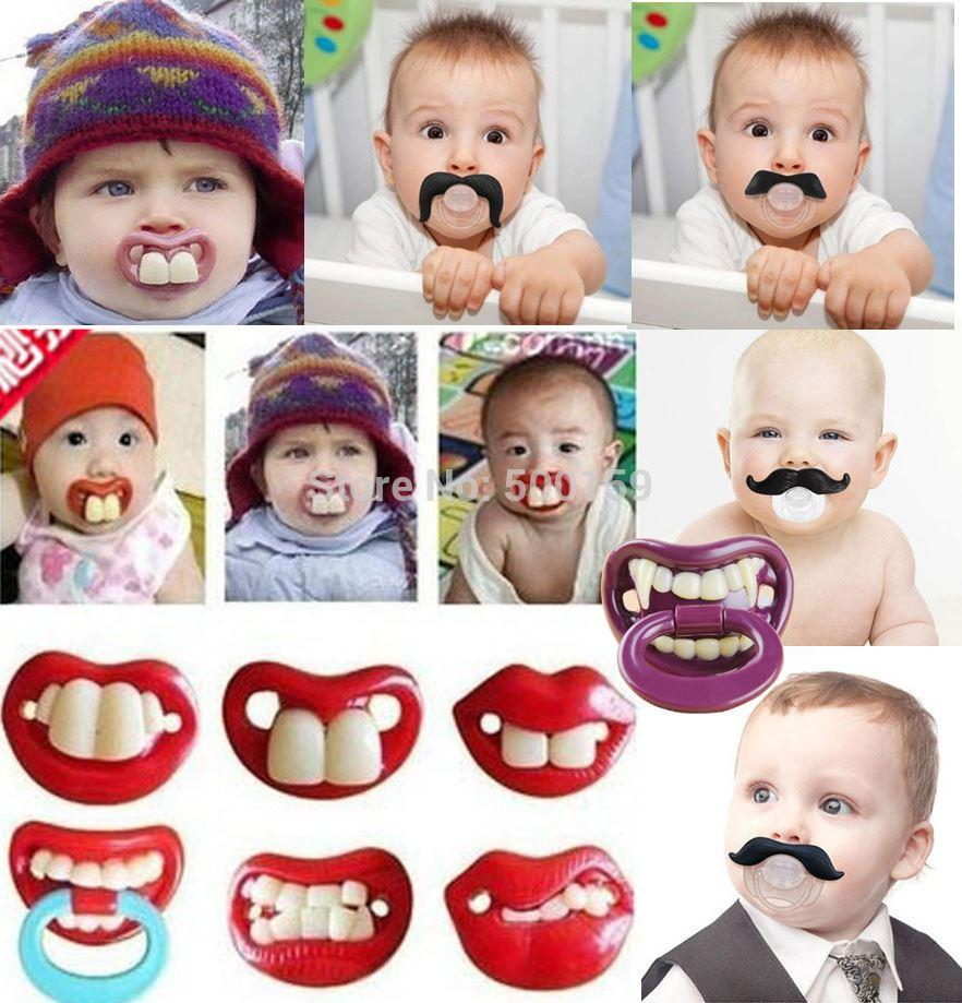 Funny Moustache Dummy Dummies Pacifier Novelty Baby Child Soother Lips Joke New