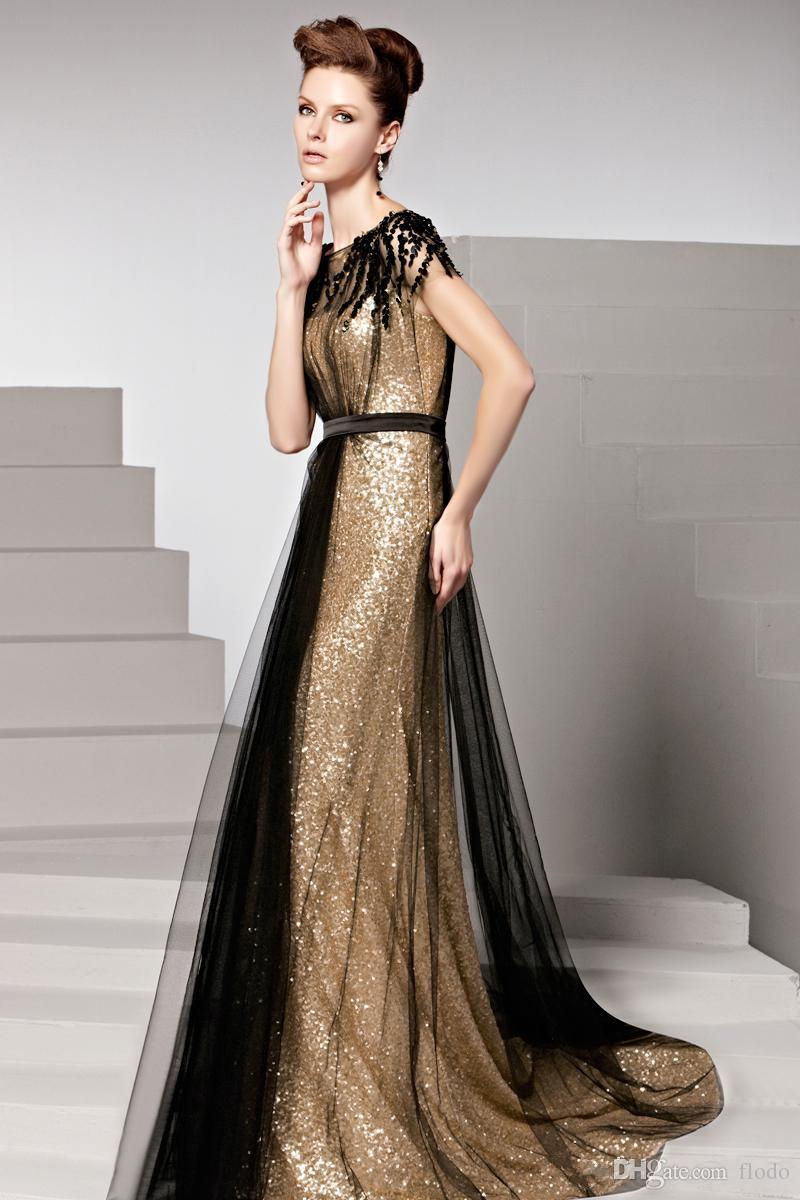 2016 Spring Black And Gold Sequin Plus Size Evening Gowns With Short ...