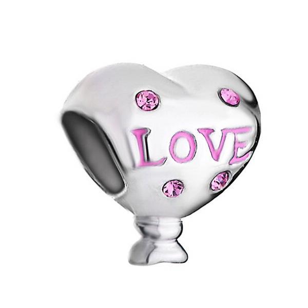 Розовый Кристалл Любовь Мама Европейский Шарик Шарм Подходит Пандора Chamilia Biagi Браслет