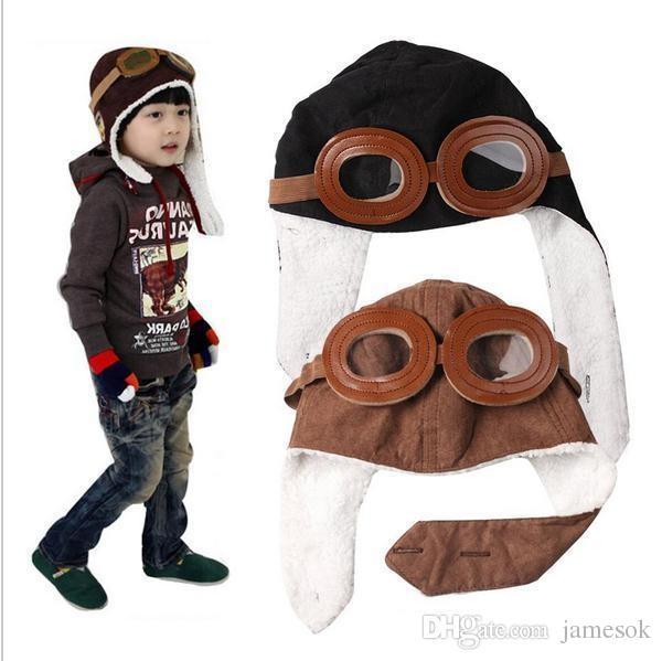 Venda quente Do Bebê Da Criança Crianças Piloto Aviador Cap Fleece Chapéus quentes Earflap Beanie para o Menino Menina Fantasias Infantil Bem c125