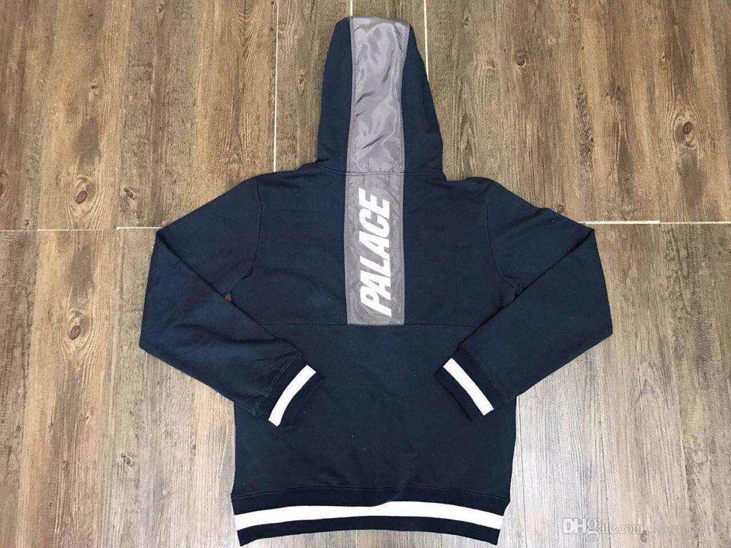 Compre 2018 Nueva Mejor Versión Kanye West Palace Line Stripe Long Sleeve Oversize Sudaderas 17aw Back Line Hip Hop Hombres Monopatín Hoodies S Xl A