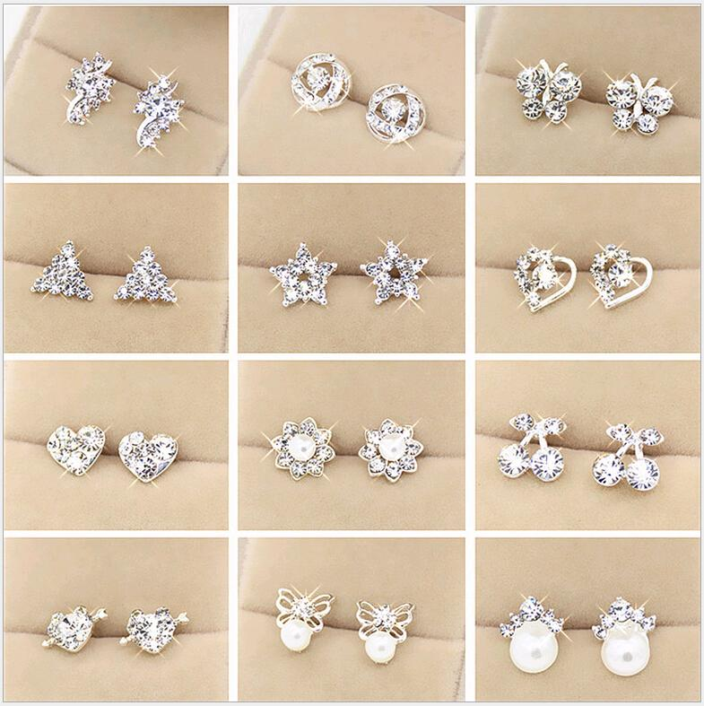 Set Pendientes de diamantes de imitación Nueva Señora Pendientes de estilo Hermosas formas Flor de corazón Multiestilo Anillos multicolores Eardrop Orden de mezcla barata