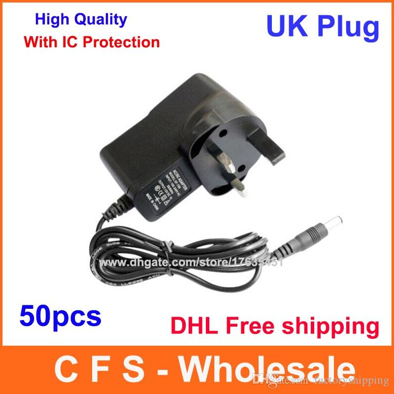50PCS DC 12V 1A eller 9V 1A eller 5V 2A UK Plug Power Adapter Supply 2.1mm x 5.5mm Express Free Shipping