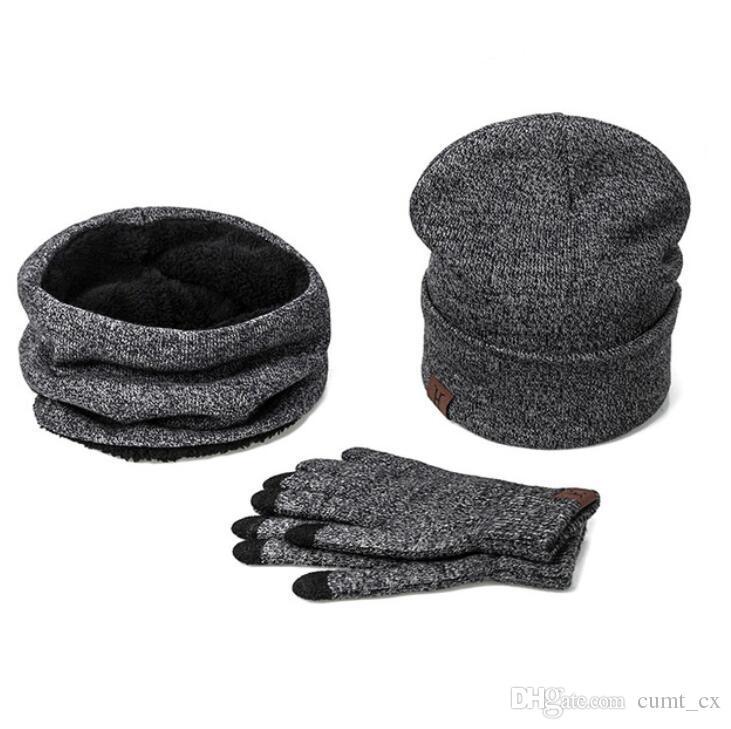 Un conjunto de hombres mujeres sombreros de invierno bufandas guantes de punto bufanda de algodón conjunto para hombre accesorios de invierno mujer 3 piezas sombrero bufanda