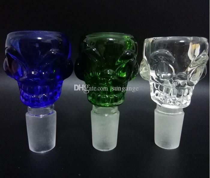Renkli Kafatası Tasarım Cam Kase 14.5mm18.8mm Dört renk 7mm kalınlık sigara boru bong mini petrol rig percolators için bubbler ücretsiz denizcilikte