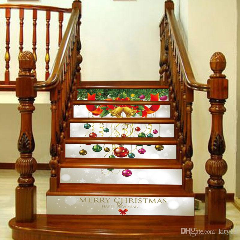 3D Self-adhesive Merry Christmas Stairway Stickers DIY for Room Stairs Decoration Home Floor Wall Sticker Free shipping