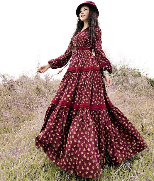 Bezpłatne wysyłki 2020 Moda Kwiatowy Drukuj Kobiety Czeski Bawełna Długie Maxi Kwiat Lampion Rękaw Suknie Wiosna I Jesień Gorąca Gorąca Sprzedaż