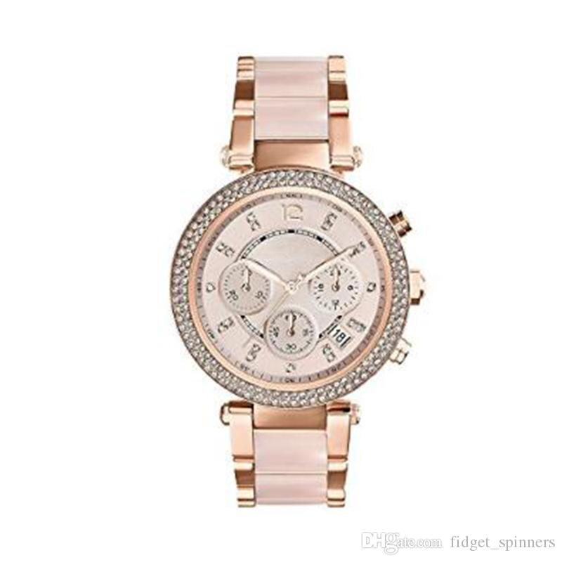 Fashion Quartz Women's Watch Rose Gold Dial Stainless Steel Ladies Wristwatch Gift For Women 5896 with box 6PCS