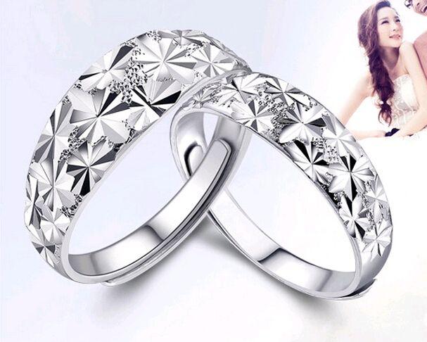 925 الفضة الاسترليني خواتم زوجين أزياء النجوم سماء نجمية افتتاح الفم الرجال النساء خواتم قابل للتعديل مجوهرات الذكرى