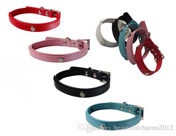 Commercio all'ingrosso 20pcs / lot pelle PU in pelle personalizzata per cani da compagnia per cani o gatti con barra di scorrimento da 10 mm per lettere di scivolo 10mm