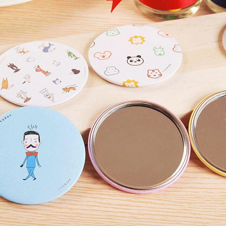 Nuevo patrón de dibujos animados lindo portátil compacto de bolsillo espejo cosmético Accesorios de belleza Envío de gota MU-105-Aleatorio