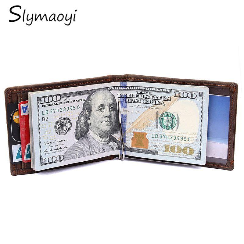 Slymaoyi 2017 Mode Neue Echtes Leder Männer Geldscheinklammern Schwarz Braun 2 Gefaltet Offene Klammer Für Geld Mit Kartenhalter Geld Tasche