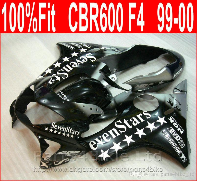 Venta caliente evenStars carenados de la motocicleta para Honda negro kit de carenado CBR600 F4 99 00 kit de carrocería CBR 600 F4 1999 2000 DRKV